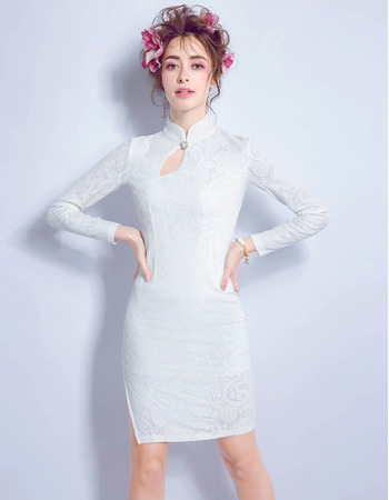 Inexpensive Modern Mini Lace Short Petite Wedding Dress with Long Sleeves