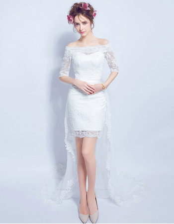 2018 Romantic Off-the-shoulder High-Low Wedding Dress with Half Sleeves