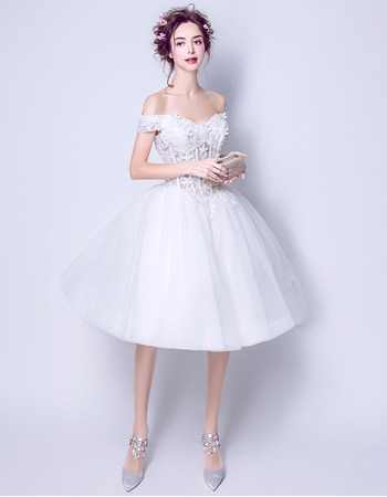 2018 Classic Ball Gown Off-the-shoulder Knee Length Short Wedding Dress