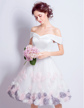 Custom Chic A-Line Off-the-shoulder Knee Length Floral Wedding Dress