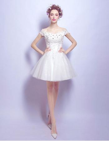 Inexpensive Timeless A-Line Off-the-shoulder Mini Short Bridal Wedding Dress