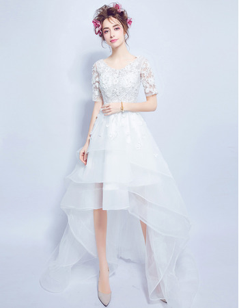 Modern Charming A-Line High-Low Organza Wedding Dress with Short Sleeves