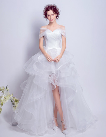 2018 Chic Off-the-shoulder High-Low Ruffle Skirt Wedding Dress