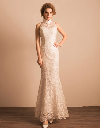 Custom Modern Sheath Mandarin Collar Floor Length Lace Reception Wedding Dress