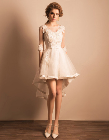 Charming Modern High-Low Short Petite Wedding Dress with Half Sleeves