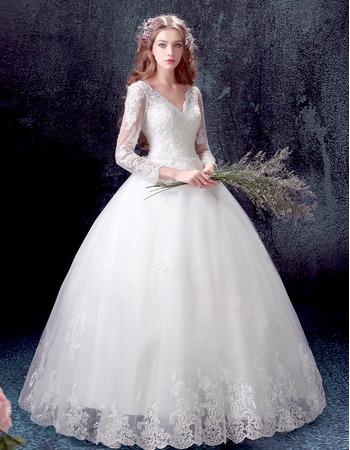 Custom Classic Ball Gown V-Neck Floor Length Wedding Dress with Long Sleeves