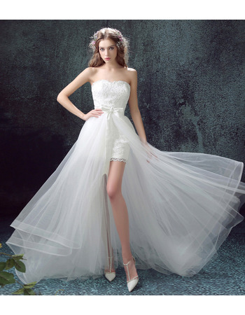 Inexpensive Charming Sweetheart Sleeveless High-Low Bridal Wedding Dress