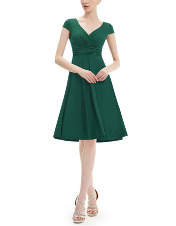 Vintage V-Neck Knee Length Chiffon Green Bridesmaid Dress with Short Sleeves