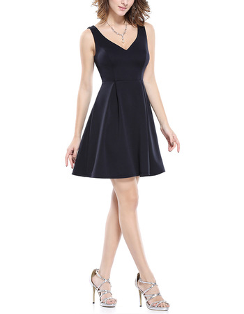 Simple V-Neck Sleeveless Short Satin Bridesmaid Dress for Wedding Party