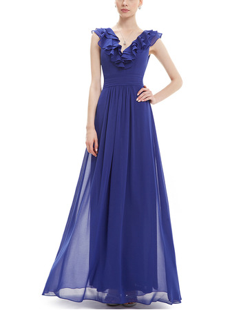 Vintage V-Neck Long Chiffon Ruffle Blue Bridesmaid Dress for Wedding