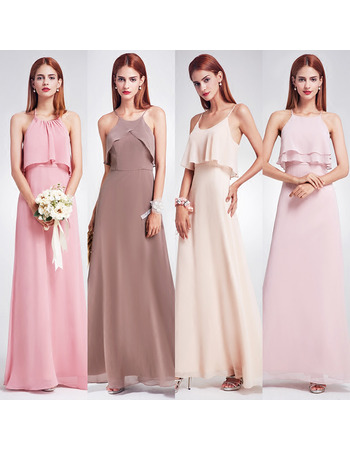 2018 Unique Spaghetti Straps Long Chiffon Bridesmaid Dress with Different Styles