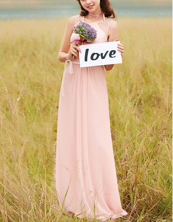 Affordable Sleeveless Long Chiffon Bridesmaid/ Prom Dress