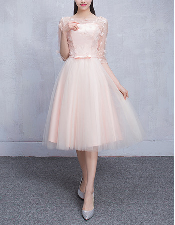New Style Simple A-Line Short Bridesmaid Wedding Dress with Half Sleeves