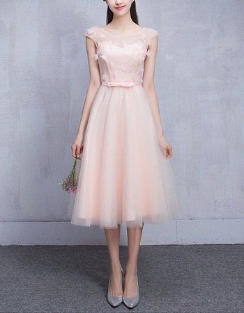 Custom A-Line Sleeveless Short Satin Tulle Bridesmaid Wedding Dress
