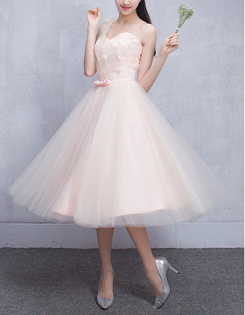 Cheap One Shoulder Knee Length Satin Tulle Bridesmaid Wedding Dress