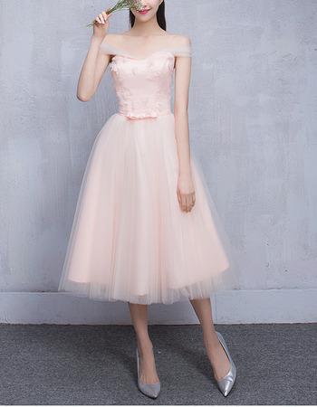 Elegant Off-the-shoulder Knee Length Satin Tulle Bridesmaid Wedding Dress