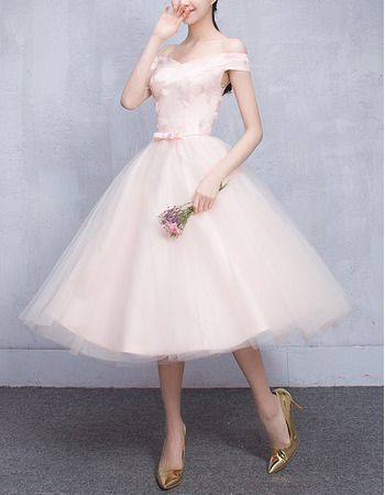 Cheap Off-the-shoulder Knee Length Satin Tulle Bridesmaid Wedding Dress