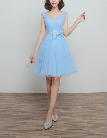 Affordable V-Neck Knee Length Satin Tulle Lace-Up Bridesmaid Wedding Dress