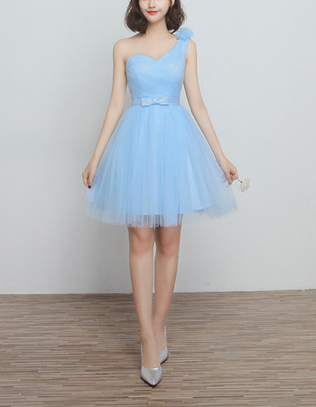 Elegant One Shoulder Knee Length Satin Tulle Bridesmaid Wedding Dress
