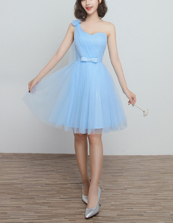 Custom One Shoulder Knee Length Satin Tulle Bridesmaid Wedding Dress