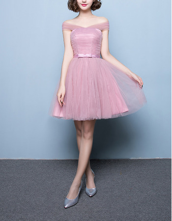 Discount Strapless Sleeveless Short Satin Tulle Bridesmaid Wedding Dress