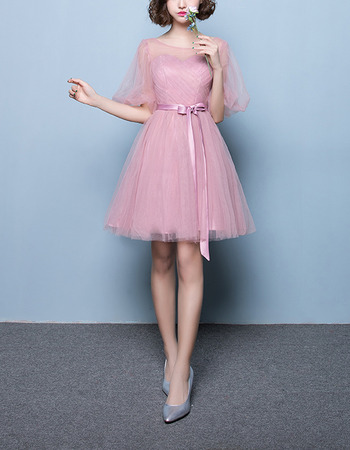 Modest Short Satin Tulle Bridesmaid Wedding Dress with Short Sleeves