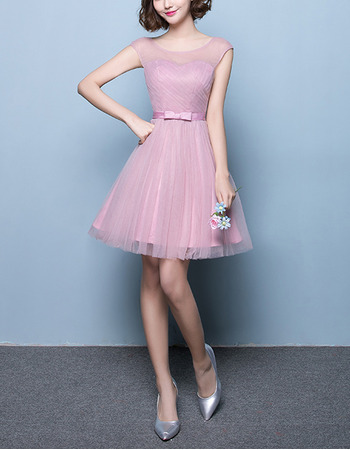 2018 Timeless A-Line Sleeveless Short Satin Tulle Bridesmaid Dress