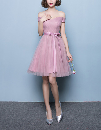 Affordable A-Line Off-the-shoulder Short Satin Tulle Bridesmaid Wedding Dress