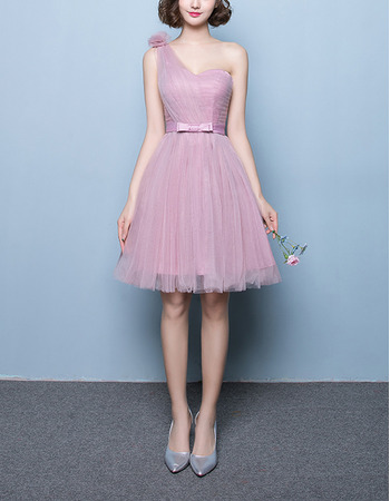 Modest A-Line One Shoulder Short Satin Tulle Bridesmaid Wedding Dress