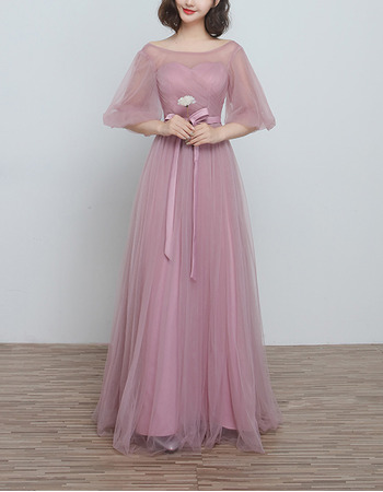 Inexpensive Long Satin Tulle Bridesmaid Wedding Dress with Short Sleeves