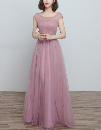 Affordable Sleeveless Long Satin Tulle Bridesmaid Wedding Dress