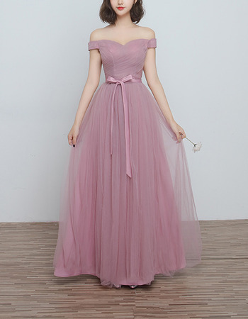 Timeless Off-the-shoulder Sweetheart Floor Length Bridesmaid Wedding Dress