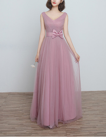 2018 New V-Neck Long Satin Tulle Bridesmaid Wedding Dress