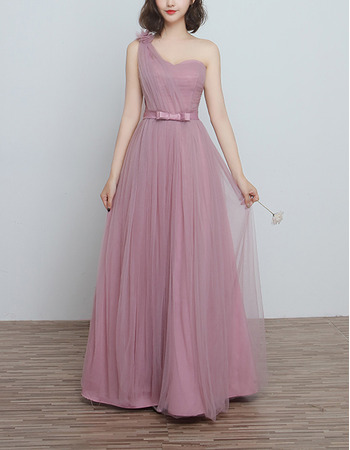 Modern One Shoulder Long Satin Tulle Bridesmaid Dress for Wedding