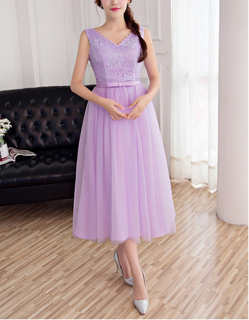 Cheap V-Neck Sleeveless Tea Length Lace Tulle Beach Bridesmaid Dress