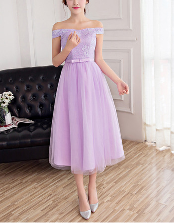 Elegant Off-the-shoulder Tea Length Lace Tulle Bridesmaid Dress
