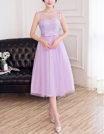 2018 Designer Sleeveless Tea Length Tulle Satin Bridesmaid Dress