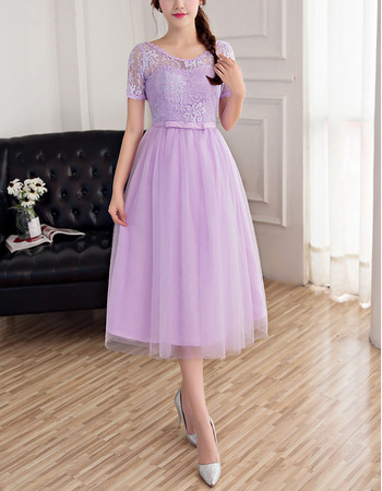 2018 Simple Tea Length Lace Bridesmaid Dress with Short Sleeves