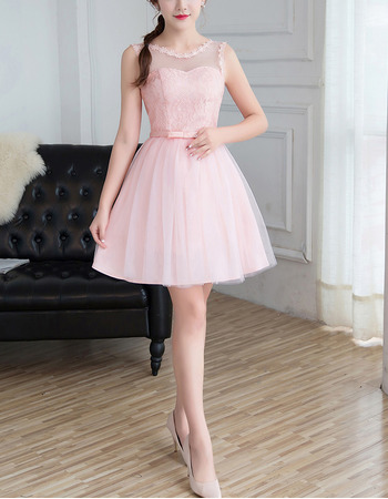 2018 Simple Sleeveless Mini/ Short Satin Tulle Bridesmaid Dress