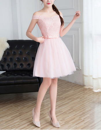 Cheap Off-the-shoulder Mini/ Short Satin Tulle Lace Bridesmaid Dress