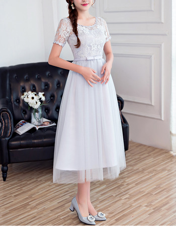 2018 Romantic Tea Length Bridesmaid Dress with Short Sleeves