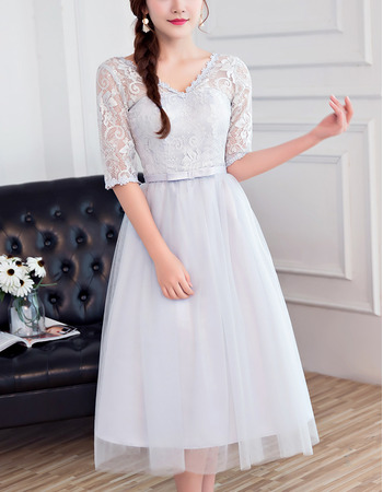 2018 Customized V-Neck Tea Length Bridesmaid Dress with Half Lace Sleeves