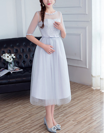 2018 Cheap Tea Length Satin Tulle Bridesmaid Dress with Half Sleeves