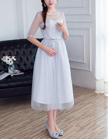 2018 Cheap Tea Length Satin Tulle Bridesmaid Dress with Half Sleeves