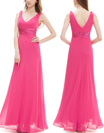 2018 Blush V-Neck Sleeveless Floor Length Chiffon Bridesmaid Dress
