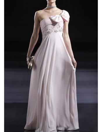 BeautifulOne Shoulder Floor Length Chiffon Dusty Pink Formal Evening Dress