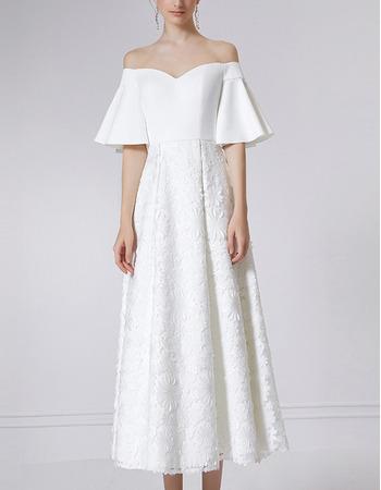 Affordable Off-the-shoulder Formal Evening Dress with Short Sleeves