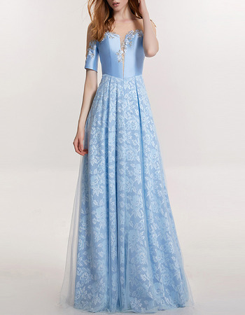Beautiful Full Length Lace Satin Formal Evening Dress with Short Sleeves