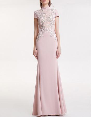 Retro Mandarin Collar Long Satin Evening Dress with Short Sleeves