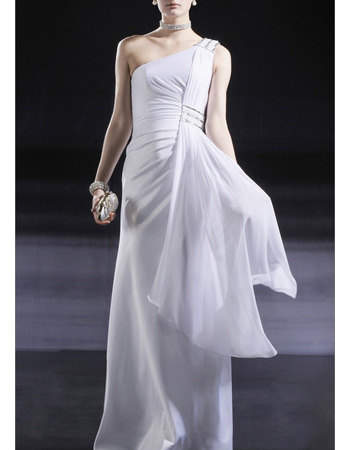Sexy One Shoulder Full Length Chiffon Formal Evening Dress